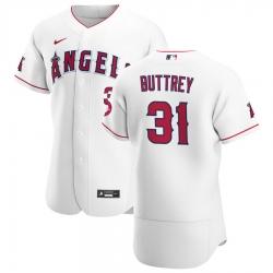 Men Los Angeles Angels 31 Ty Buttrey Men Nike White Home 2020 Flex Base Player MLB Jersey