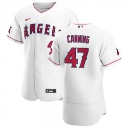 Men Los Angeles Angels 47 Griffin Canning Men Nike White Home 2020 Flex Base Player MLB Jersey