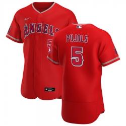 Men Los Angeles Angels 5 Albert Pujols Men Nike Red Alternate 2020 Flex Base Player MLB Jersey