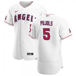 Men Los Angeles Angels 5 Albert Pujols Men Nike White Home 2020 Flex Base Player MLB Jersey