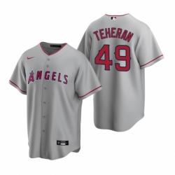 Mens Nike Los Angeles Angels 49 Julio Teheran Gray Road Stitched Baseball Jersey