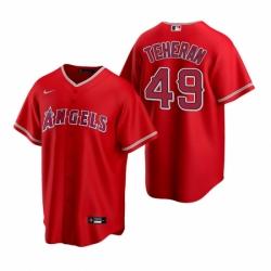 Mens Nike Los Angeles Angels 49 Julio Teheran Red Alternate Stitched Baseball Jersey