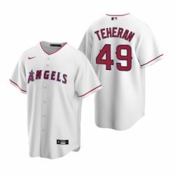 Mens Nike Los Angeles Angels 49 Julio Teheran White Home Stitched Baseball Jersey