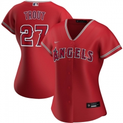 Los Angeles Angels 27 Mike Trout Nike Women Alternate 2020 MLB Player Jersey Red