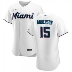 Men Miami Marlins 15 Brian Anderson Men Nike White Home 2020 Flex Base Player MLB Jersey