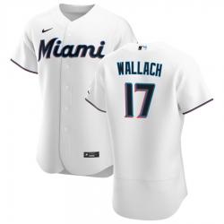 Men Miami Marlins 17 Chad Wallach Men Nike White Home 2020 Flex Base Player MLB Jersey