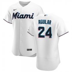 Men Miami Marlins 24 Jesus Aguilar Men Nike White Home 2020 Flex Base Player MLB Jersey