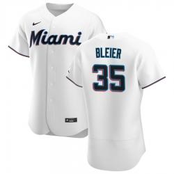 Men Miami Marlins 35 Richard Bleier Men Nike White Home 2020 Flex Base Player MLB Jersey