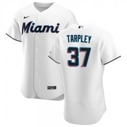 Men Miami Marlins 37 Stephen Tarpley Men Nike White Home 2020 Flex Base Player MLB Jersey