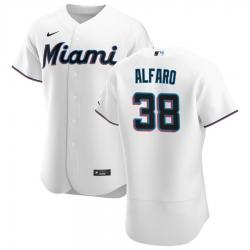 Men Miami Marlins 38 Jorge Alfaro Men Nike White Home 2020 Flex Base Player MLB Jersey