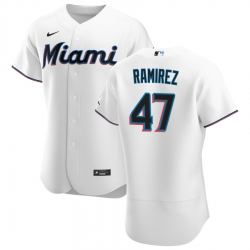 Men Miami Marlins 47 Harold Ramirez Men Nike White Home 2020 Flex Base Player MLB Jersey