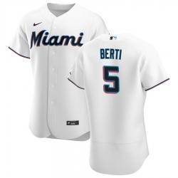Men Miami Marlins 5 Jon Berti Men Nike White Home 2020 Flex Base Player MLB Jersey