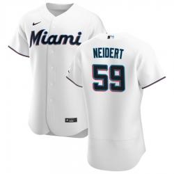 Men Miami Marlins 59 Nick Neidert Men Nike White Home 2020 Flex Base Player MLB Jersey