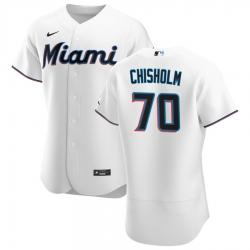 Men Miami Marlins 70 Jazz Chisholm Men Nike White Home 2020 Flex Base Player MLB Jersey
