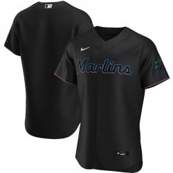 Men Miami Marlins Men Nike Black Alternate 2020 Flex Base MLB Jersey