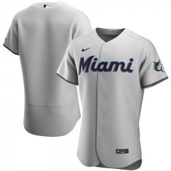 Men Miami Marlins Nike Gray Road 2020 Flex Base Team Jersey