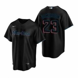 Mens Nike Miami Marlins 23 Corey Dickerson Black Alternate Stitched Baseball Jersey