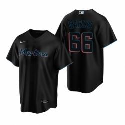 Mens Nike Miami Marlins 66 Jarlin Garcia Black Alternate Stitched Baseball Jersey