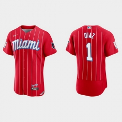 Miami Marlins 1 Isan Diaz Men Nike 2021 City Connect Authentic MLB Jersey Red