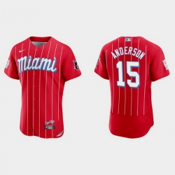 Miami Marlins 15 Brian Anderson Men Nike 2021 City Connect Authentic MLB Jersey Red