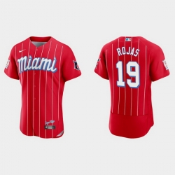 Miami Marlins 19 Miguel Rojas Men Nike 2021 City Connect Authentic MLB Jersey Red