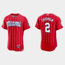 Miami Marlins 2 Jazz Chisholm Men Nike 2021 City Connect Authentic MLB Jersey Red