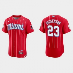 Miami Marlins 23 Corey Dickerson Men Nike 2021 City Connect Authentic MLB Jersey Red