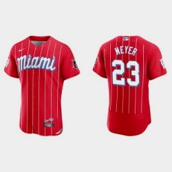 Miami Marlins 23 Max Meyer Men Nike 2021 City Connect Authentic MLB Jersey Red