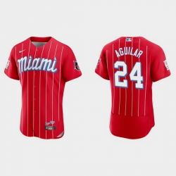 Miami Marlins 24 Jesus Aguilar Men Nike 2021 City Connect Authentic MLB Jersey Red