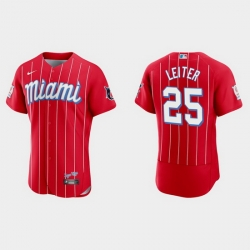 Miami Marlins 25 Al Leiter Men Nike 2021 City Connect Authentic MLB Jersey Red