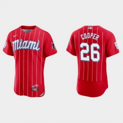 Miami Marlins 26 Garrett Cooper Men Nike 2021 City Connect Authentic MLB Jersey Red