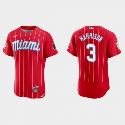 Miami Marlins 3 Monte Harrison Men Nike 2021 City Connect Authentic MLB Jersey Red