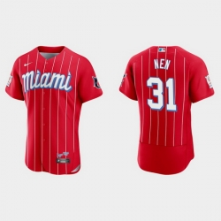 Miami Marlins 31 Robb Nen Men Nike 2021 City Connect Authentic MLB Jersey Red
