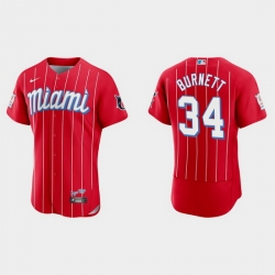 Miami Marlins 34 A J  Burnett Men Nike 2021 City Connect Authentic MLB Jersey Red