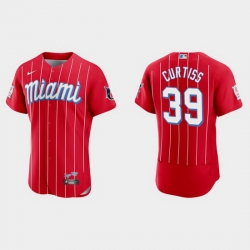 Miami Marlins 39 John Curtiss Men Nike 2021 City Connect Authentic MLB Jersey Red