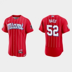 Miami Marlins 52 Anthony Bass Men Nike 2021 City Connect Authentic MLB Jersey Red