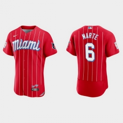 Miami Marlins 6 Starling Marte Men Nike 2021 City Connect Authentic MLB Jersey Red