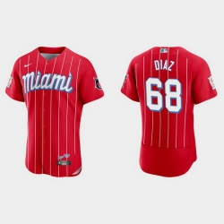 Miami Marlins 68 Lewin Diaz Men Nike 2021 City Connect Authentic MLB Jersey Red