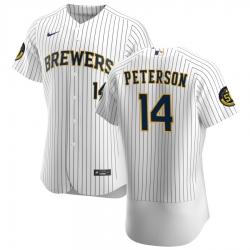 Men Milwaukee Brewers 14 Jace Peterson Men Nike White Home 2020 Flex Base Player MLB Jersey