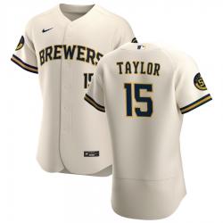 Men Milwaukee Brewers 15 Tyrone Taylor Men Nike Cream Home 2020 Flex Base Player MLB Jersey