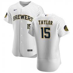 Men Milwaukee Brewers 15 Tyrone Taylor Men Nike White Home 2020 Flex Base Player MLB Jersey