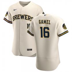 Men Milwaukee Brewers 16 Ben Gamel Men Nike Cream Home 2020 Flex Base Player MLB Jersey
