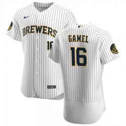 Men Milwaukee Brewers 16 Ben Gamel Men Nike White Home 2020 Flex Base Player MLB Jersey