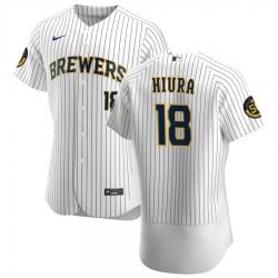 Men Milwaukee Brewers 18 Keston Hiura Men Nike White Home 2020 Flex Base Player MLB Jersey