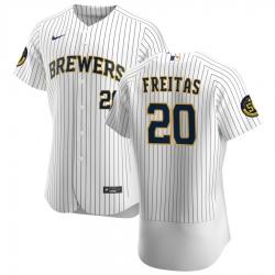 Men Milwaukee Brewers 20 David Freitas Men Nike White Home 2020 Flex Base Player MLB Jersey