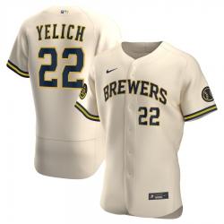 Men Milwaukee Brewers 22 Christian Yelich Men Nike Cream Alternate 2020 Flex Base Player MLB Jersey