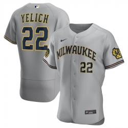 Men Milwaukee Brewers 22 Christian Yelich Men Nike Gray Road 2020 Flex Base Player MLB Jersey