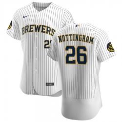 Men Milwaukee Brewers 26 Jacob Nottingham Men Nike White Home 2020 Flex Base Player MLB Jersey