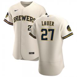 Men Milwaukee Brewers 27 Eric Lauer Men Nike Cream Home 2020 Flex Base Player MLB Jersey