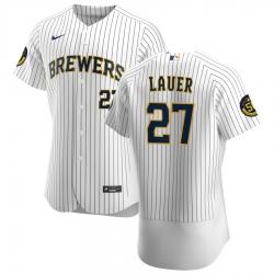 Men Milwaukee Brewers 27 Eric Lauer Men Nike White Home 2020 Flex Base Player MLB Jersey